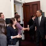 President Barack Obama greets Campus Champions of Change on March 15, 2012. (Official White House Photo by Pete Souza)