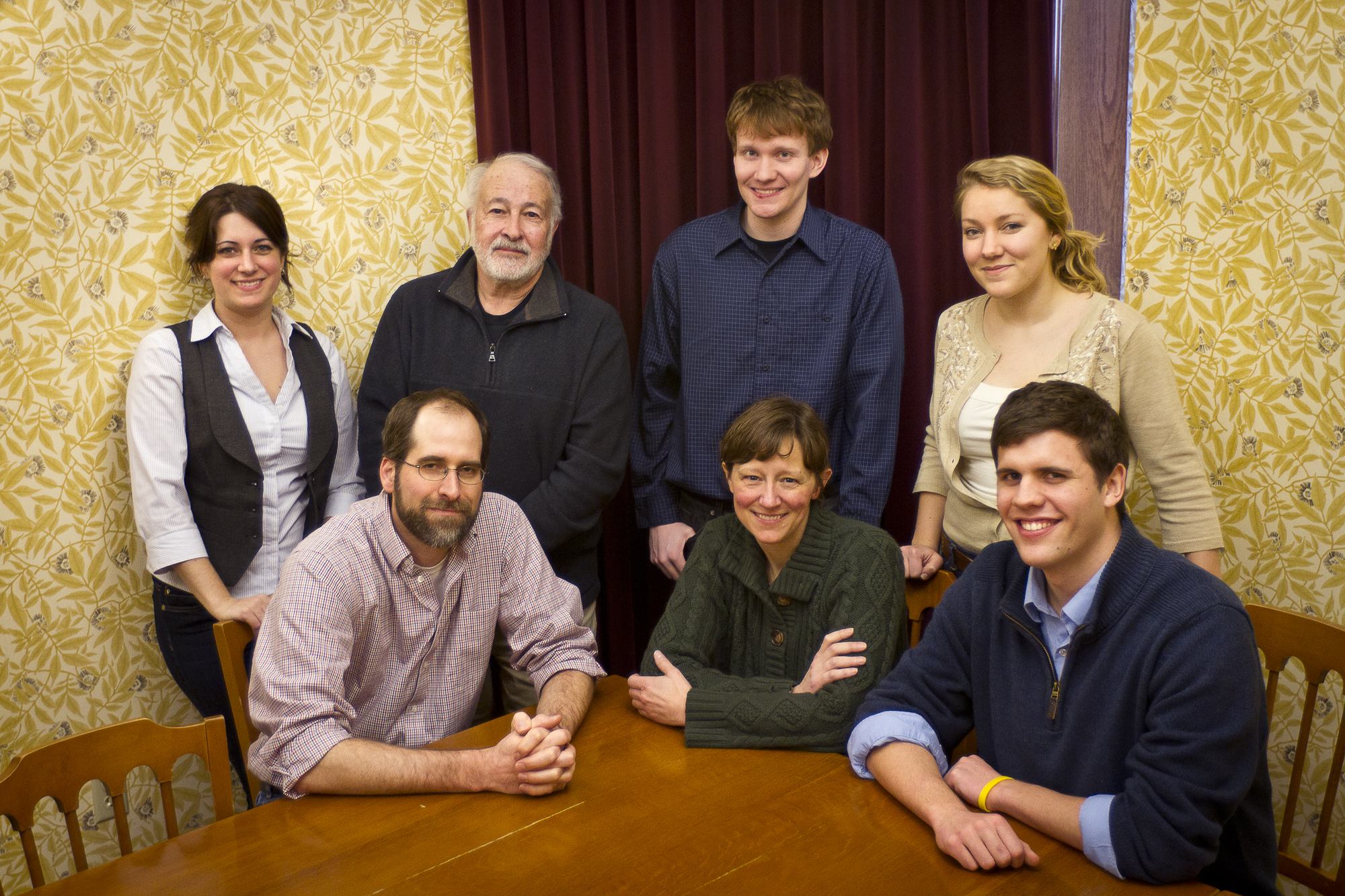 Front row, left to right: Monty Roper, Board Member, Pastor Kirsten Klepfer, Treasurer, Kyle Walters.  Back Row: Grace Philipp, Doug Caulkins, Board President; Noah Most (co-facilitator), Kathy Andersen (co-facilitator).  Not shown,  Jeff Raderstrong (Secretary) and Emily Kugisaki (board member)